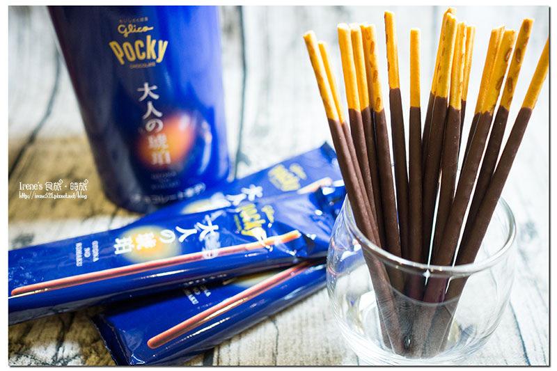 【日本零食】大人限定的口味,威士忌的麥香與巧克力棒的相融合.大人の琥珀 Pocky @Irene's 食旅.時旅